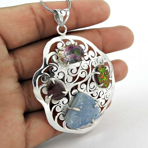925 Sterling Silver Fashion Jewelry Trendy Druzy, Mystic Topaz, Opal, Ruby Gemstone Pendant Wholesaler India