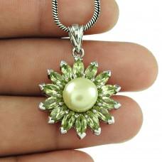 Fashion Peridot Pearl 925 Sterling Silver Ethnic Pendant Gemstone Jewellery