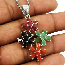 Lovely Ruby, Blue Sapphire, Emerald & Coral Gemstone Pendant Indian Sterling Silver Jewellery