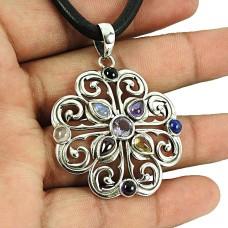 Sterling Silver Jewellery Trendy Amethyst, Lapis, Garnet, Black Onyx, Rainbow Moonstone, Citrine, Rose Quartz Gemstone Pendant