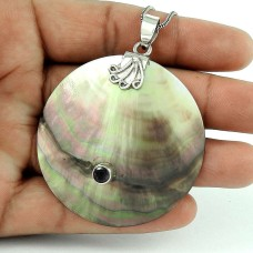 Pretty 925 Sterling Silver Shell Amethyst Gemstone Pendant Jewelry