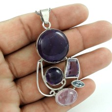 Beautiful 925 Sterling Silver Rose Quartz Amethyst Gemstone Pendant Jewelry