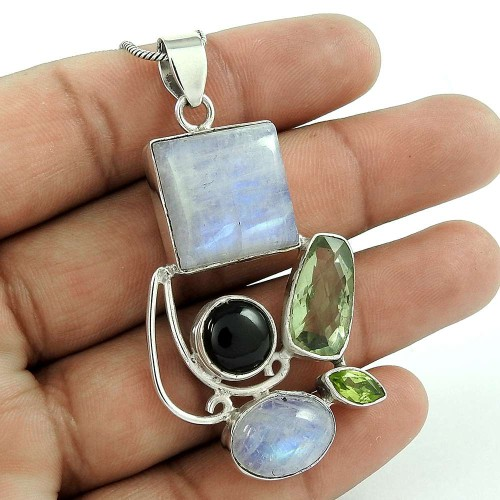 Rare 925 Sterling Silver Rainbow Moonstone Peridot Black Onyx Green Onyx Gemstone Pendant Ethnic Jewelry