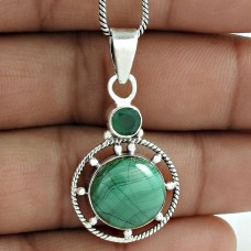 Beautiful 925 Sterling Silver Malachite Green Onyx Gemstone Pendant Jewelry