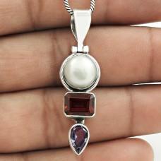 Amusable 925 Sterling Silver Pearl, Garnet, Amethyst Gemstone Pendant Handmade Jewelry C90