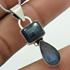 Kyanite ,Labradorite Gemstone Pendant 925 Sterling Silver Stylish Jewelry AZ24