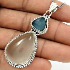 Natural ROSE QUARTZ CHALCEDONY Stylish Pendant 925 Silver HANDMADE Jewelry AA10