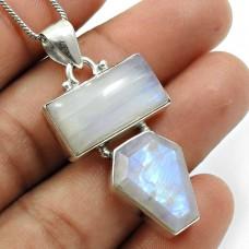 Rainbow Moonstone Gemstone Pendant Solid 925 Sterling Silver Vintage Jewelry W14