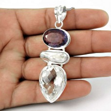 New Exclusive Style!! 925 Sterling Silver Amethyst, Freshwater Pearl, Green Amethyst Pendant