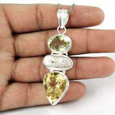Beautiful Design !! 925 Sterling Silver Citrine, Freshwater Pearl, Green Amethyst Pendant Al por mayor
