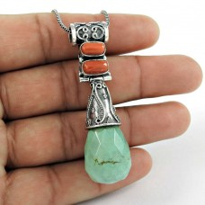 Lilac Kiss !! 925 Sterling Silver Coral & Turquoise Pendant