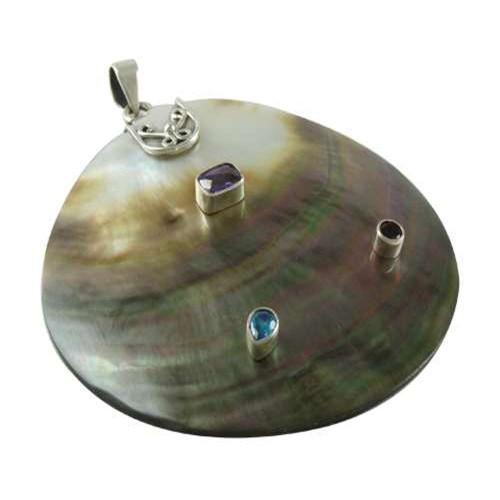 Indian Sterling Silver Jewelry Fashion Shell, Amethyst, Blue Topaz, Garnet Gemstone Pendant Hersteller