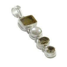 925 Sterling Silver Antique Jewelry Traditional Pearl & Citrine Gemstone Pendant De gros