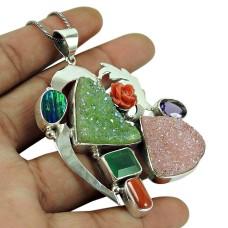 Scenic Druzy, Green Onyx, Coral, Amethyst, Opal Gemstone Pendant Sterling Silver Jewellery