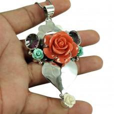 Dainty Mystic Topaz, Synthetic Flower Gemstone Pendant 925 Sterling Silver Vintage Jewellery