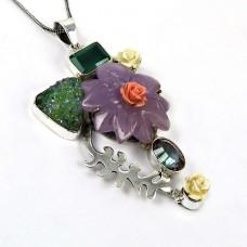 Handy Green Onyx, Titanium Druzy, Chalcedony, Mystic Topaz Gemstone Pendant Sterling Silver Fashion Jewellery