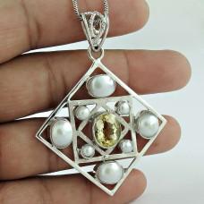 Sterling Silver Jewelry Beautiful Citrine, Pearl Gemstone Pendant Wholesaling