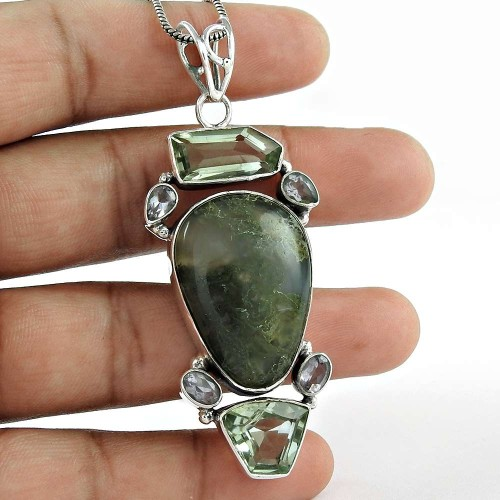 925 Sterling Silver Indian Jewelry Traditional Moss Agate, Green Amethyst, Amethyst Gemstone Pendant Fabricant