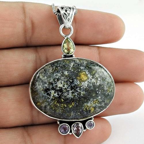 925 Sterling Silver Jewelry Fashion Jasper, Amethyst, Citrine Gemstone Pendant Supplier India