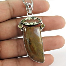 925 Sterling Silver Vintage Jewellery Ethnic Mountain Jasper, Citrine, Green Amethyst Gemstone Pendant Proveedor
