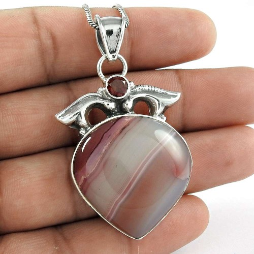 Sterling Silver Fashion Jewelry High Polish Striped Onyx, Garnet Gemstone Pendant Manufacturer