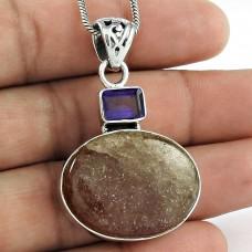 Sterling Silver Jewellery Ethnic Amethyst, Real Sun Stone Gemstone Pendant Grossiste