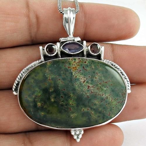 925 Sterling Silver Gemstone Jewelry Charming Bloodstone, Garnet, Iolite Gemstone Pendant Großhandel