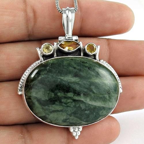 925 Sterling Silver Vintage Jewelry Fashion Green Jasper, Citrine Gemstone Pendant Supplier India