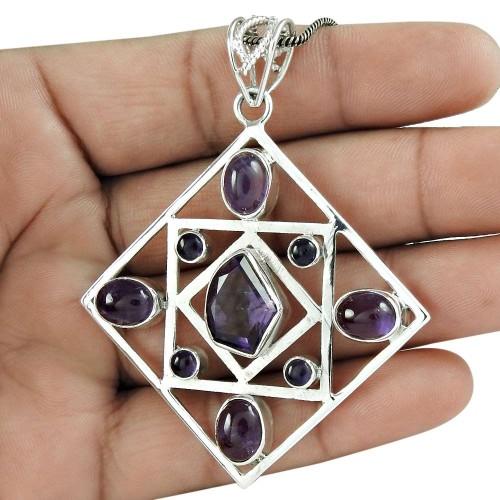 925 Sterling Silver Antique Jewelry Designer Amethyst Gemstone Pendant Großhändler