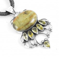 925 Sterling Silver Indian Jewelry Beautiful Honey Jasper, Citrine Gemstone Pendant Exporter India
