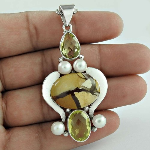925 Silver Jewelry Traditional Mookaite, Lemon Quartz, Pearl Gemstone Pendant Supplier