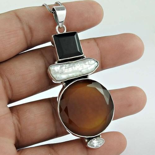 925 Sterling Silver Fashion Jewelry Charming Carnelian, Black Onyx, Biwa Pearl, Crystal Gemstone Pendant Exporter
