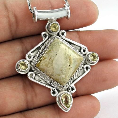 925 Sterling Silver Jewelry Charming Sand Jasper, Citrine Gemstone Pendant Wholesaler