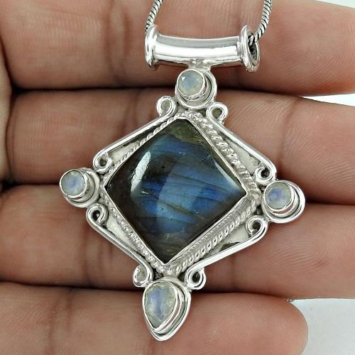 Indian Sterling Silver Jewelry Fashion Labradorite, Rainbow Moonstone Gemstone Pendant Fournisseur