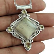 Sterling Silver Jewelry Ethnic Sand Jasper, Citrine Gemstone Pendant Wholesaling