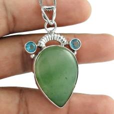 925 Silver Jewelry Beautiful Green Aventurine, Blue Topaz Gemstone Pendant Fabricant