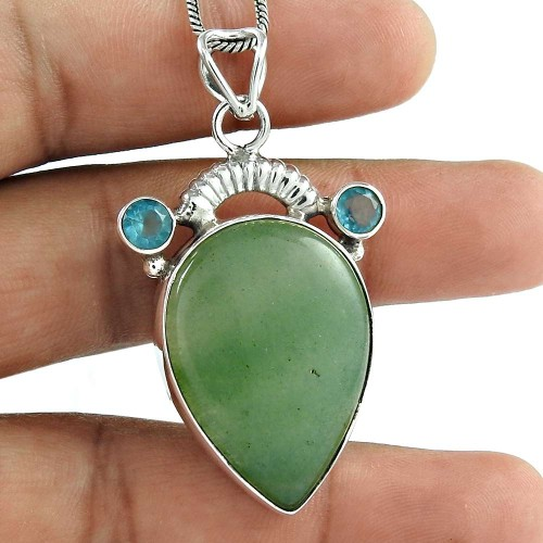 925 Silver Jewelry Beautiful Green Aventurine, Blue Topaz Gemstone Pendant Fabricant