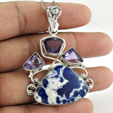 925 Sterling Silver Jewelry Traditional Sodalite, Amethyst Gemstone Pendant Wholesaler India