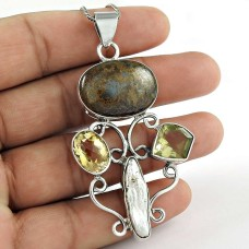 925 Silver Jewelry High Polish Copper Turquoise, Biwa Pearl, Citrine Gemstone Pendant Großhandel