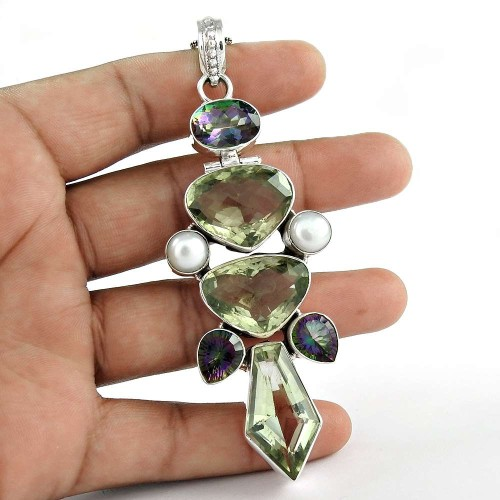 925 Sterling Silver Jewelry Ethnic Green Amethyst, Pearl, Mystic Topaz Gemstone Pendant Exporter India
