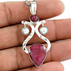 925 Sterling Silver Antique Jewelry Traditional Ruby, Pearl Gemstone Pendant Al por mayor