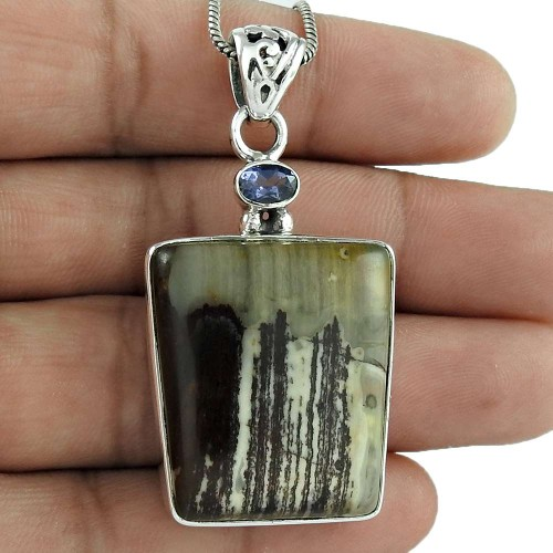 925 Sterling Silver Indian Jewelry Traditional Ocean Jasper, Iolite Gemstone Pendant Manufacturer