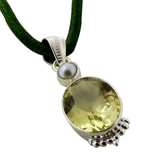 925 Sterling Silver Jewelry Beautiful Pearl, Lemon Topaz Gemstone Pendant Fournisseur