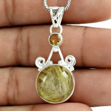 925 Sterling Silver Fashion Jewelry Charming Golden Rutile, Citrine Gemstone Pendant Wholesaler India