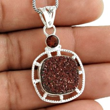 925 Silver Jewelry Beautiful Druzy, Garnet Gemstone Pendant Supplier