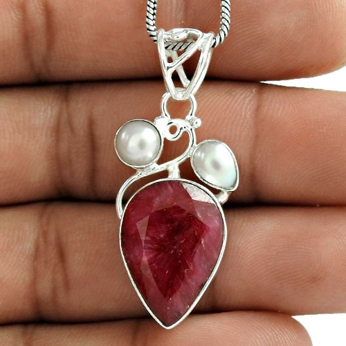 925 Sterling Silver Fashion Jewelry Trendy Pearl, Ruby Gemstone Pendant Exporter