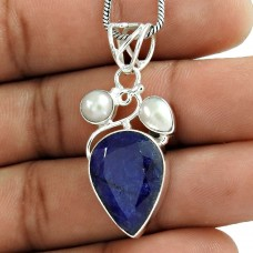 925 Sterling Silver Vintage Jewelry Fashion Pearl, Blue Sapphire Gemstone Pendant Manufacturer