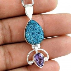 Sterling Silver Jewelry Fashion Druzy, Amethyst Gemstone Pendant Wholesaling