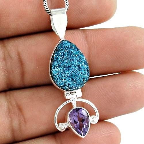 Sterling Silver Jewelry Fashion Druzy, Amethyst Gemstone Pendant Wholesaling