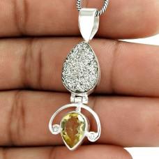 925 Silver Jewelry Beautiful Druzy, Citrine Gemstone Pendant Wholesaler India